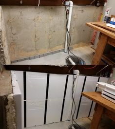Before and After: A basement remodeling project with InSoFast insulation panels Damp Basement, Leaking Basement, Flooded Basement, Basement Waterproofing, Basement Finishing, Small Basement Remodel, Basement Renovations, Basement Makeover, Basement Storage