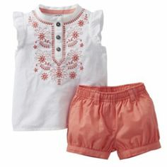 Carter's Embroidered Top & Shorts Set - Baby