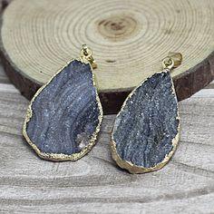 Grey Druzy drop earrings