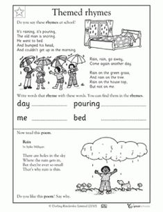 I could use this worksheet to get students familiar with poems. They will be able to read a familiar poem and comment on a new poem. They will also be able to work on spelling and handwriting as they write words from the poem. #spellingandhandwriting #spelling #and #handwriting Reading Worksheets, Kindergarten Worksheets, Rain Poems, Spelling And Handwriting, Best Poems, Short Poems, Rhyming Words, Funny Slogans, Free Printable Worksheets