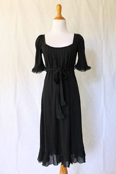 JUICY COUTURE NEW Black Boho Peasant Style Tea Dress Size Small Beautiful! #JuicyCouture #Sheath #Casual