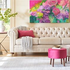 Rose revival: big floral patterns are ruling home décor, and our Promises Kept Canvas Wall Art delivers in dramatic fashion, a bouquet in shades of violet and blushing pink.
