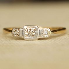art deco gold & platinum ring