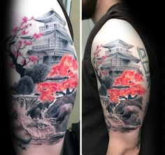 Contrasting Cherry Blossom Tree With Temple Mens Japanese Upper Arm Tattoo
