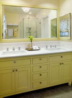 navy blue bathroom vanity | Monthly Design Tour: Erica Islas' 1920s Spanish Bungalow | Design ...