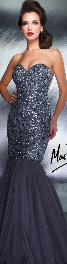 Mac Duggal couture dress Grey / gunmetal COUTURE DRESSES STYLE 1149D