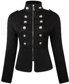JOKHOO Women's Zip Front Stand Collar Military Light Jacket at Amazon Women's Coats Shop