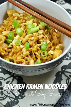 Chicken Ramen Noodles in Peanut Soy Sauce -- basic Ramen noodles jazzed up with . Hähnchen-R Ramen Noodle Recipes, Ramen Noodles, Chicken Noodles, Egg Noodles, Recipes With Soy Sauce, Mets, Pasta Dishes, Pasta Sauces, Rice Dishes