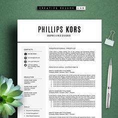 Phillips Resume Template / CV Template  Cover by CreativeResumeLab