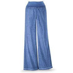 Denim Blue Wide Leg Pants - The Pyramid Collection