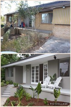 Ranch style single family home. Before & After. Ranch style single family home. Before & After. Home Exterior Makeover, Exterior Remodel, Exterior House Colors, Exterior Design, Stucco Colors, House Makeovers, Brick Ranch, Ranch Remodel, Ranch Style Homes