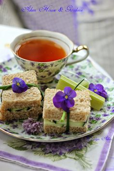 Summer Porch Tea - Fancy cucumber sandwiches wrapped with edible flowers served with Vanilla Almond Rooibos tea from Lady Bakers Tea Trolley / Aiken House & Gardens