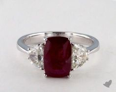 I would DIE for this ring!!!  18K White Gold 1.65ct Cushion Shape Ruby Three Stone Engagement Ring
