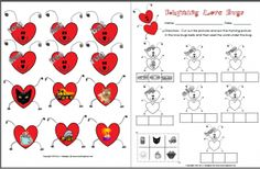 FREE Love Bug Rhyming Center and Activity Sheet for Valentine's Day.