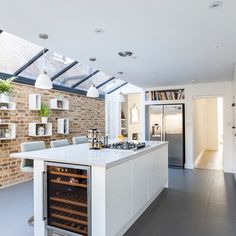 Tooting our own horn a bit but we just love what a difference this glass ceiling makes. Designed by Team Resi. Open Plan Kitchen, Kitchen Dining, Glass Ceiling, Home Reno, Sliding Doors, Entertaining, How To Plan, Modern, House
