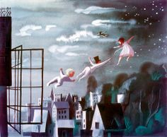 "Peter Pan concept art by Mary Blair. Mary Blair is a favorite artist of mine. She created all of the artwork in ""It's a Small World"" and has worked side by side with Walt Disney himself."