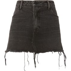 Alexander Wang Layered Denim Mini Skirt (17.365 RUB) ❤ liked on Polyvore featuring skirts, mini skirts, grey, short mini skirts, double layer skirt, alexander wang skirt, layered skirt and alexander wang