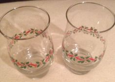 Christmas Goblets Lot Of 2 Great Condition in Table Decor & Serving Pieces | eBay