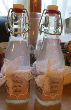 Homemade bubble bath! http://shopbestbibandtucker.com/2012/03/the-wedding-march-bubble-bath-for-the-bridesmaids/