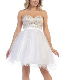 This MayQueen White Embellished Bodice Strapless Dress by MayQueen is perfect! #zulilyfinds