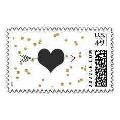 Arrow and Heart Black and Gold Polka Dots Stamp