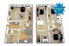 2 floors and 3 bedrooms