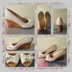 Woman's Wedge Sandals Size 10 M  Woman's white wedge sandals size 10 medium with lace and bow accents. These are very cute & comfortable with little wear to the soles mainly just dirty from wearing very good condition  POSTED ON MER©ARI INVITE CODE: CQUAAW  AEROSOLES Shoes Wedges