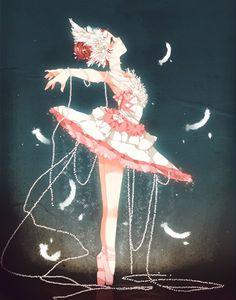 No idea if it was the inspiration, but I'm reminded of Princess Tutu :) Sorry I know its late but Happy Otaku day! Manga Anime, Manga Girl, Anime Art Girl, Anime Style, Manga Sport, Kawaii Anime, Anime Dancer, Chibi, Anime Lindo