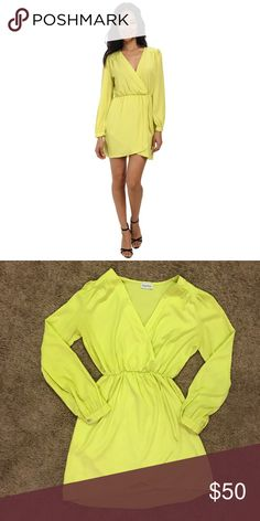 NWOT Brigitte Bailey Neon Chartreuse Demri Dress New without tags! If you love chartreuse, there isn't a better dress for you! This dress shape fits in all of the right places. It's fitted on top, cinches at the waist, and fits on bottom without being too tight. If you think the top is too low, it's super easy to safety pin and looks just as great!  🙋🏻I love offers! ❓Questions? Please ask!  💕Thanks for visiting, and please follow me! Brigitte Bailey Dresses Mini