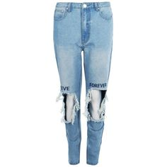 Boohoo Hannah High Waist Embroidered Slim Fit Moms Jeans (€29) ❤ liked on Polyvore featuring jeans, blue skinny jeans, slim straight jeans, ripped skinny jeans, high-waisted boyfriend jeans and high waisted skinny jeans