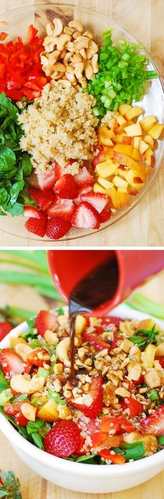 Strawberry, quinoa, spinach and cashew salad in a homemade honey-mustard balsamic vinegar dressing. It's a delicious Summer salad, made with healthy, clean, whole food ingredients!