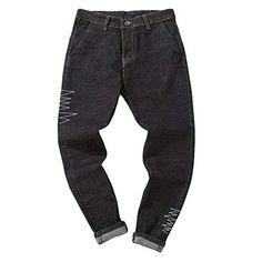 Creazrise Men's Black Denim Drop Crotch Jogger Pants Casual Hip Hop Work Trousers Jeans (Black,L) Work Trousers, Trouser Jeans, Drop Crotch Joggers, Tall Jeans, Denim Cotton, Jogger Pants, Jeans Style, Black Denim, Men Casual
