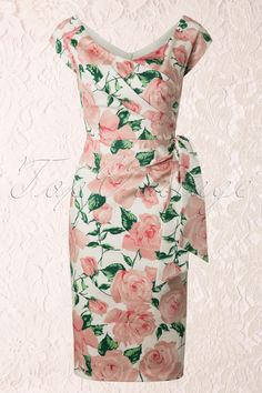 The Pretty Dress Company - Hourglass Cream and Pink Rose Vintage Pencil dress