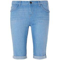 Dorothy Perkins Plait Pocket Denim Knee Shorts ($44) ❤ liked on Polyvore featuring shorts, blue, dorothy perkins, woven shorts, short shorts, pocket shorts and denim shorts