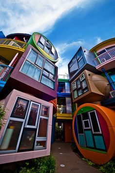 This nine-unit Reversible Destiny Lofts at Mitaka was built based on an unusual concept.    The architectural concept was created by Shusaku Arakawa and Madeline Gins who made a point that home is a place to trigger one's senses, instead of a place to relax!    The colourful building was created in memory of Helen Keller, the deaf-blind American author, political activist and lecturer.    Photograph by Ryoma Aoki
