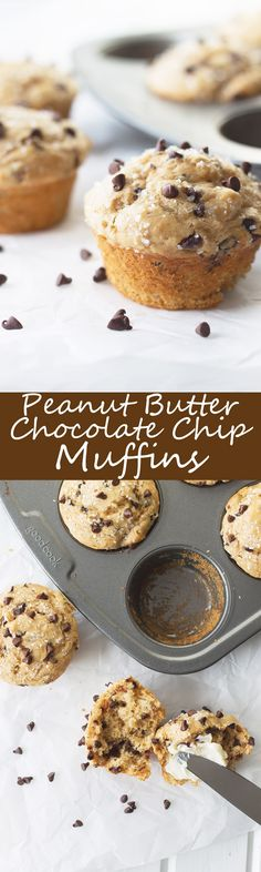 Peanut Butter Chocolate Chip Muffins- an easy muffin that is tender, packed with peanut butter flavor and studded with mini chocolate chips!   countrysidecravings.com
