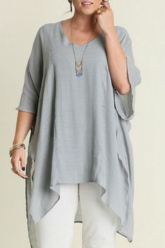 Umgee Plus Silver or Black V-Neck Caftan     V Neck Plus Caftan by UMG PLUS. Clothing - Tops - Tunics Austin, Texas