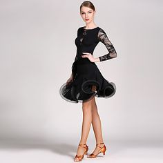 5e7115c382c6 Latin Dance Outfits Women's Performance Lace / Viscose Ruffles Long Sleeve Natural  Leotard / Onesie / Skirt