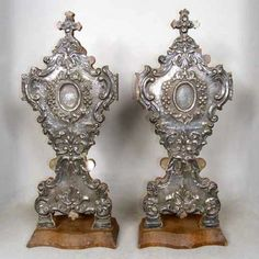 Pair of Indo-Portuguese Silver Mounted Reliquaries  Condition note: missing some small silver pieces. circa 1840
