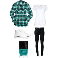 Teal flannel outfit
