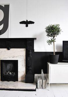 interiors, fireplace, black