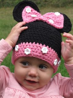 Toddler Hat, Minnie Mouse Hat, Crochet Minnie Mouse Hat, Crochet Hat, Crochet Toddler Hat, Disney on Etsy, $19.99