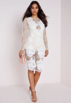 Lace Applique Leotard Insert Midi Dress White