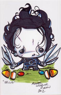 """ORIGINAL ART - Cutie Edward Scissorhands 4X6 marker sketch by Michael """"Locoduck"""" Duron"""