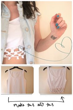 DIY Knotted Crop Top Tutorial from Clones & Clowns. *Her vest is a DIY she posted here. My favorite tutorials from Clones & Clowns are below. Thirty Easy Tee Shirt Restyles go here. Knockoff Moschino Paper Boat Bag Tutorial go here. Lace Embellished Shorts go here. No Sew Racer Back Heart Tee Tutorial go here. Knockoff Ilana Kohn Crop Tee here.