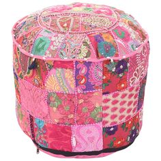 Indian Handmade Round Ottoman Floor Pouf Cover, Hippie Pouf Seating Foot Stool, Meditation Pouf Cover, Embroidered Ethnic Pouf Cover Pouf Ottoman, Ottoman Cover, Upholstered Ottoman, Floor Pouf, Floor Pillows, Turquoise Cushions, Handmade Ottomans, Stool Covers, Amor