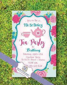 Tea Party Birthday Invitation with Teacup and by ErinMizeDesigns