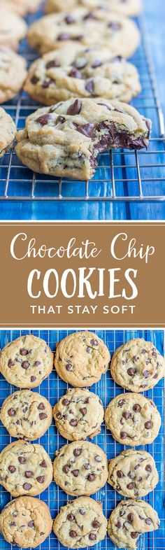 Stay Soft Chocolate Chip Cookies These thick, chewy chocolate chip cookies are so easy to make, pillowy soft and stay that way for days! Perfect to make in a big batch or ship to family! Mini Desserts, Cookie Desserts, Just Desserts, Cookie Recipes, Delicious Desserts, Dessert Recipes, Yummy Food, Baking Desserts, Plated Desserts
