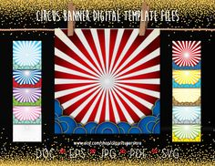 Circus Banner SVG JPG EPs Vector Font Editable Template Instant Download Printable Digital File by clipartsuperstore on Etsy Party Items, Eps Vector, Fonts, Banner, Printable, Templates, Digital, Etsy, Party Stuff