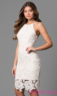 3b28e02ae2 Image of knee-length floral lace graduation dress in off-white. Style